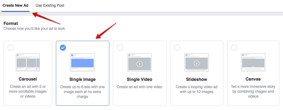 chọn loại hình cho nội dung quảng cáo